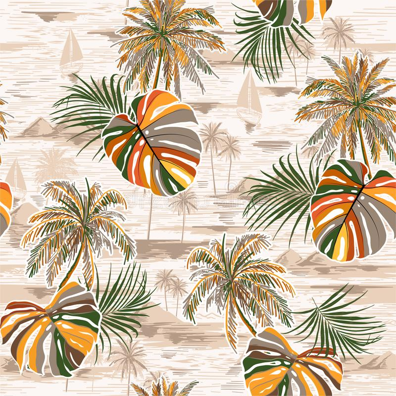 Vintage seamless palm leaves island pattern on monotone Landscape with palm trees,beach and ocean  vector hand drawn style. On light beige color background stock illustration