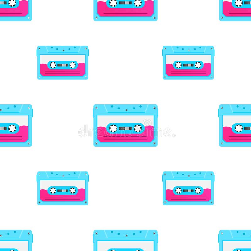 Vintage seamless pattern with analogue music cassettes. 80s Loopable background with magnetic audio tapes. vector illustration