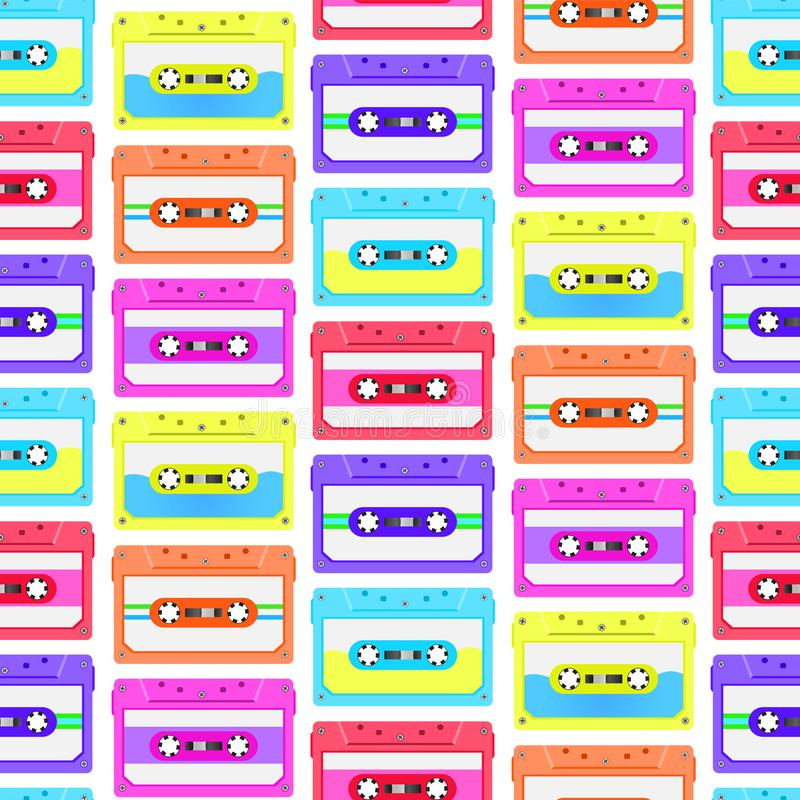 Vintage seamless pattern with analogue music cassettes. 80s Loopable background with magnetic audio tapes. stock illustration