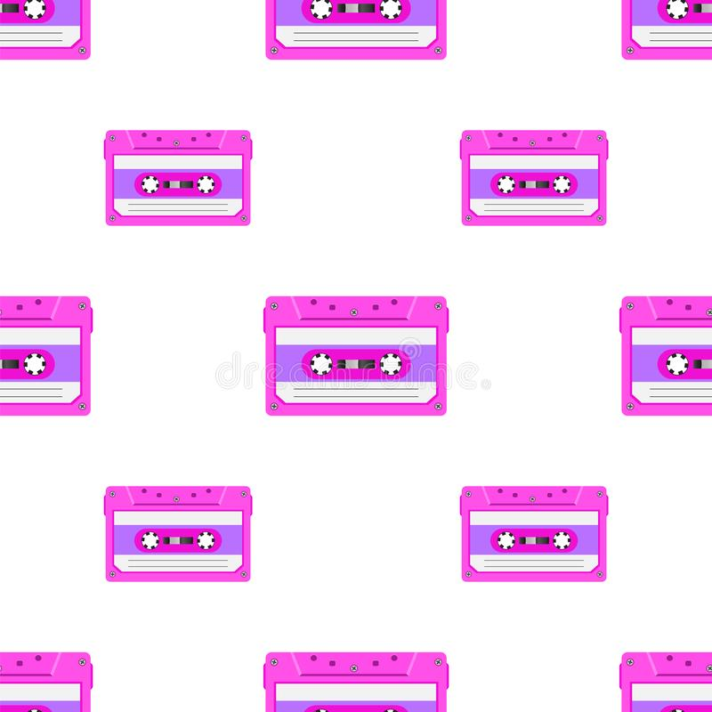 Vintage seamless pattern with analogue music cassettes. 80s Loopable background with magnetic audio tapes vector illustration