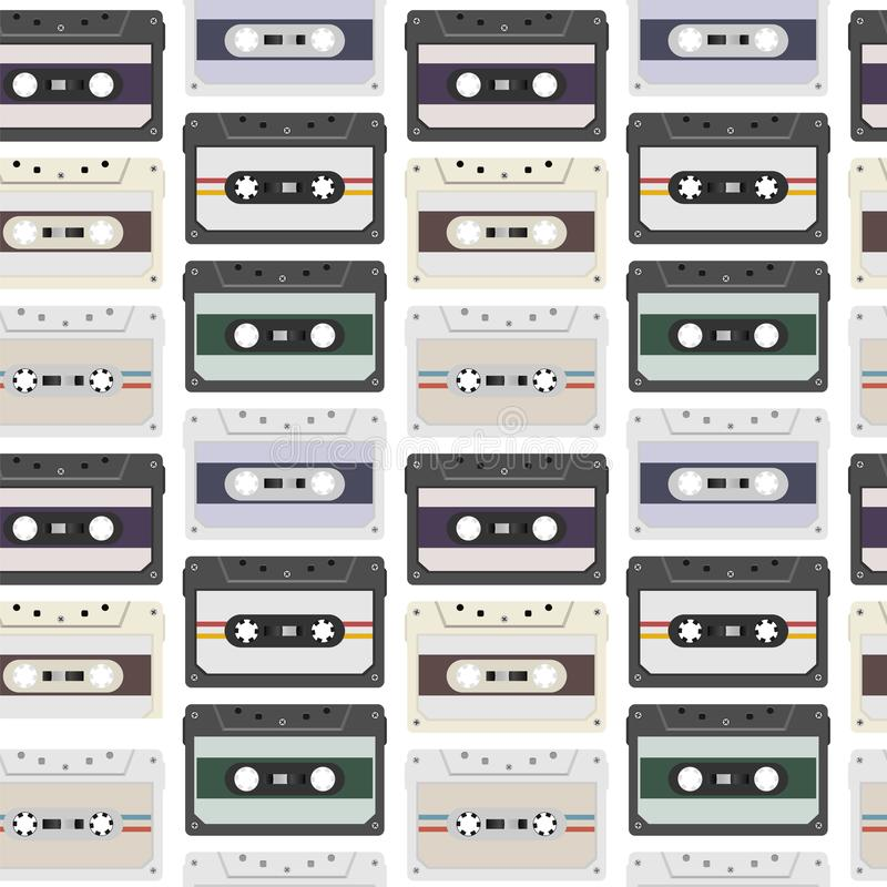 Vintage seamless pattern with analogue music cassettes. 80s Loopable background with magnetic audio tapes stock illustration