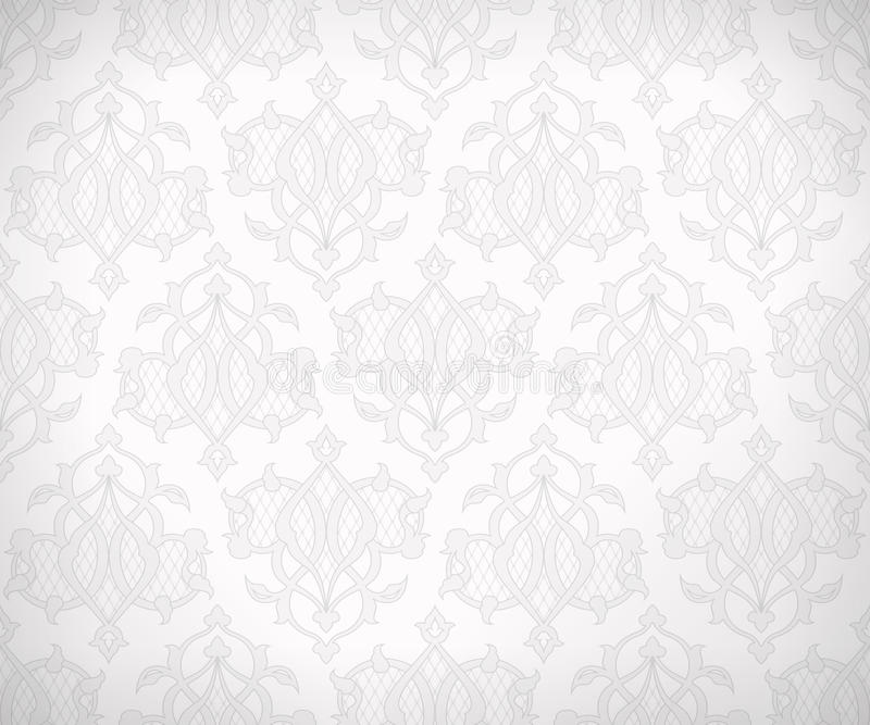 Vintage seamless pattern for background design. Vintage abstract vector seamless pattern in subtle shades of white and gray colors for wallpaper background stock illustration