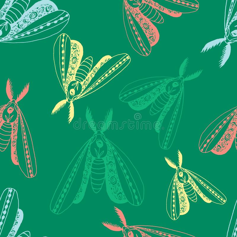 Vintage seamless pattern with butterflies in doodle style. Decoration hand drawn butterflies. The background is perfect for fabric. Wallpaper for the nursery vector illustration