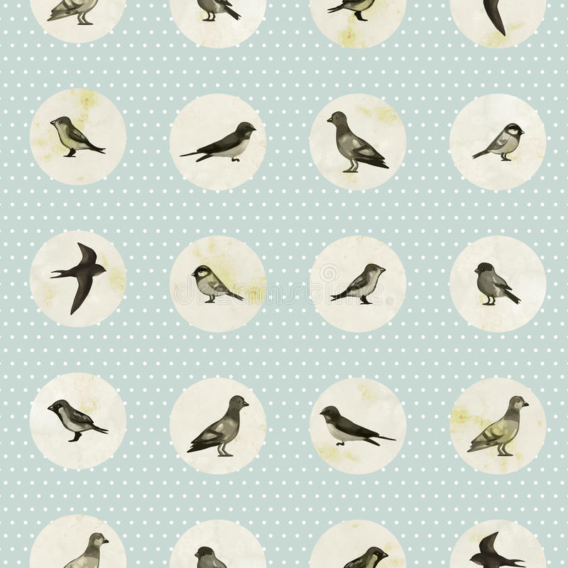 Vintage seamless pattern with cute little birds royalty free illustration