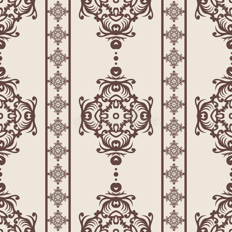 Vintage seamless pattern. Floral ornate wallpaper. Dark vector damask background with decorative ornaments and flowers in Baroque stock illustration