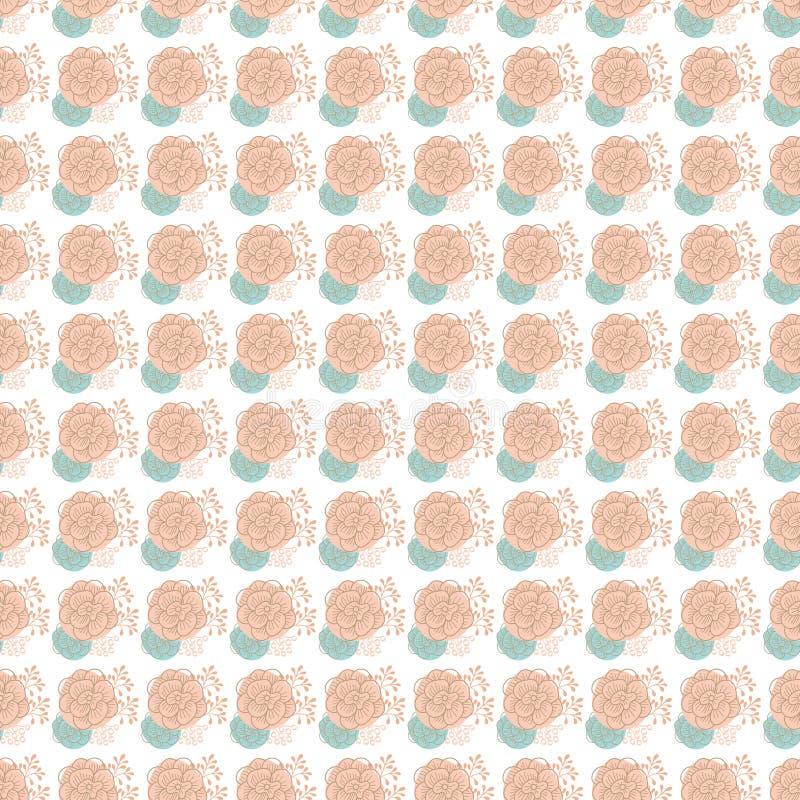Vintage seamless pattern hand drawn flowers vector illustration