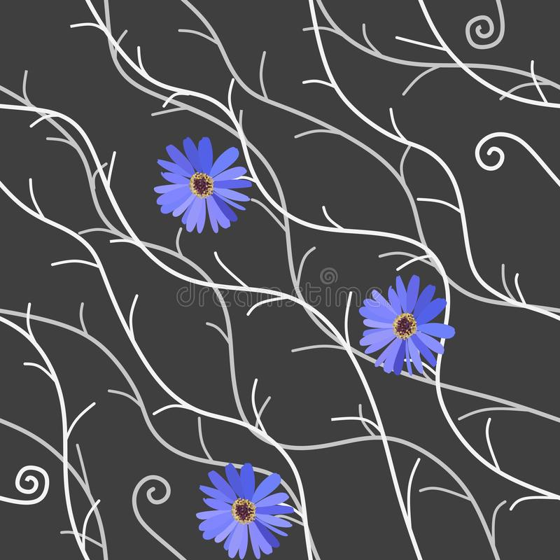 Vintage seamless pattern with luxury blue daisy flowers and abstract silver and white branches on dark gray background in vector. vector illustration