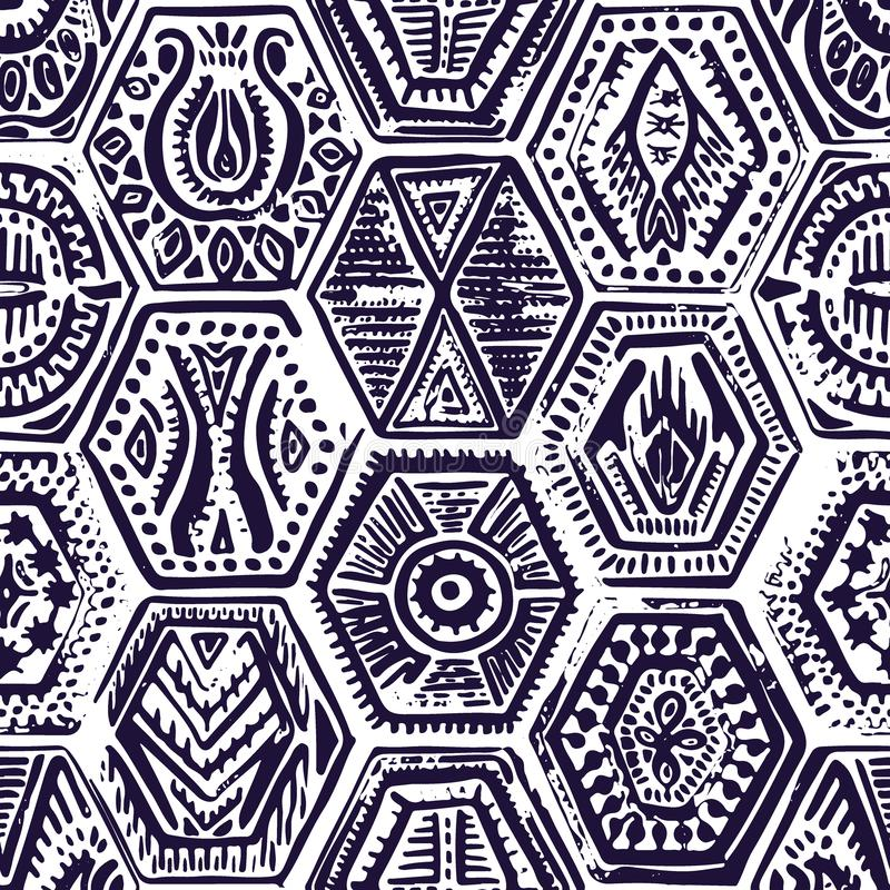 Vintage seamless pattern in patchwork style. Hand-drawn hexagon vector illustration