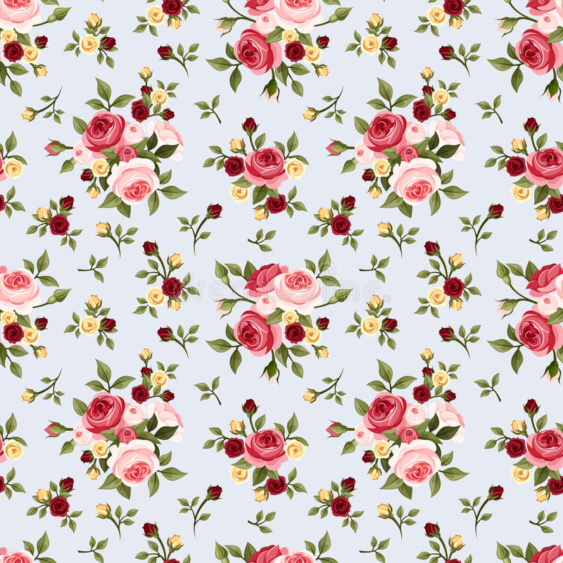Shabby Chic Rose Patterns. Set Seamless Pattern. Vintage ... |Vintage Floral Rose Pattern