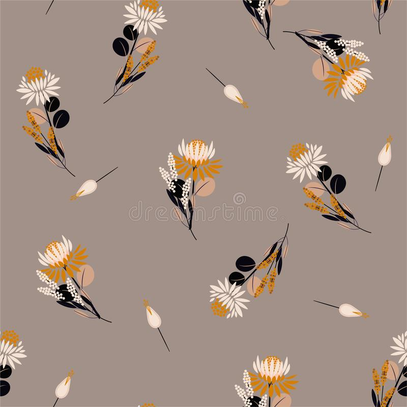 Vintage Seamless pattern  Protea flowers Vector isolated abstract florals and plants. Decorative design elements.Random repeat royalty free illustration