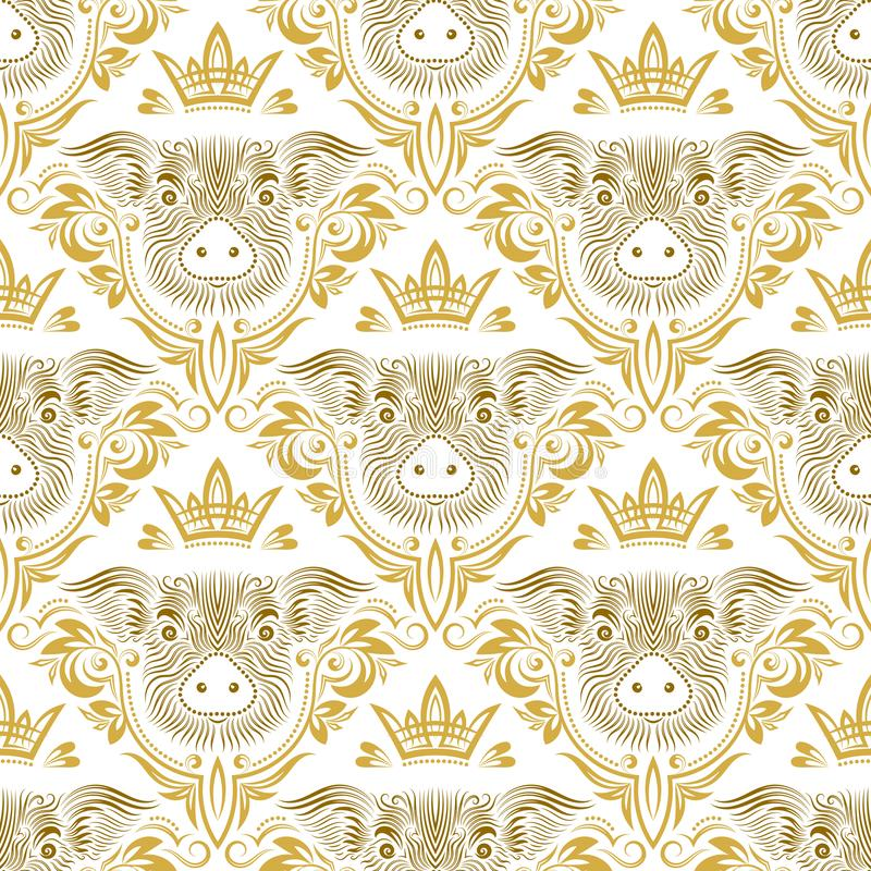 Vintage seamless pattern of repeating pig muzzle in floral ornament with crown. Gift wrapping for Chinese New Year 2019. Holiday wallpaper stock illustration
