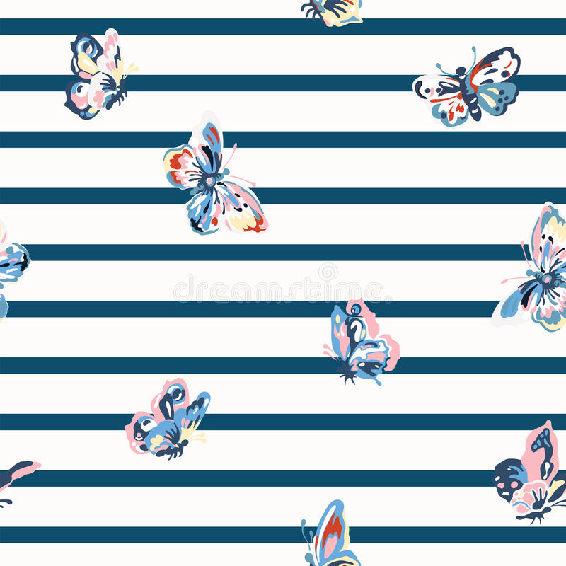 Vintage seamless pattern with stripes and butterflies royalty free stock image
