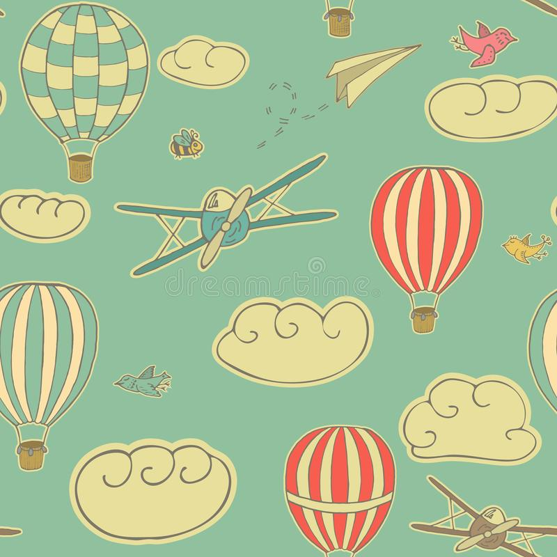 Vintage seamless pattern, vector illustration with hot air balloons, planes and birds flying in the blue sky with texture. Patter stock illustration