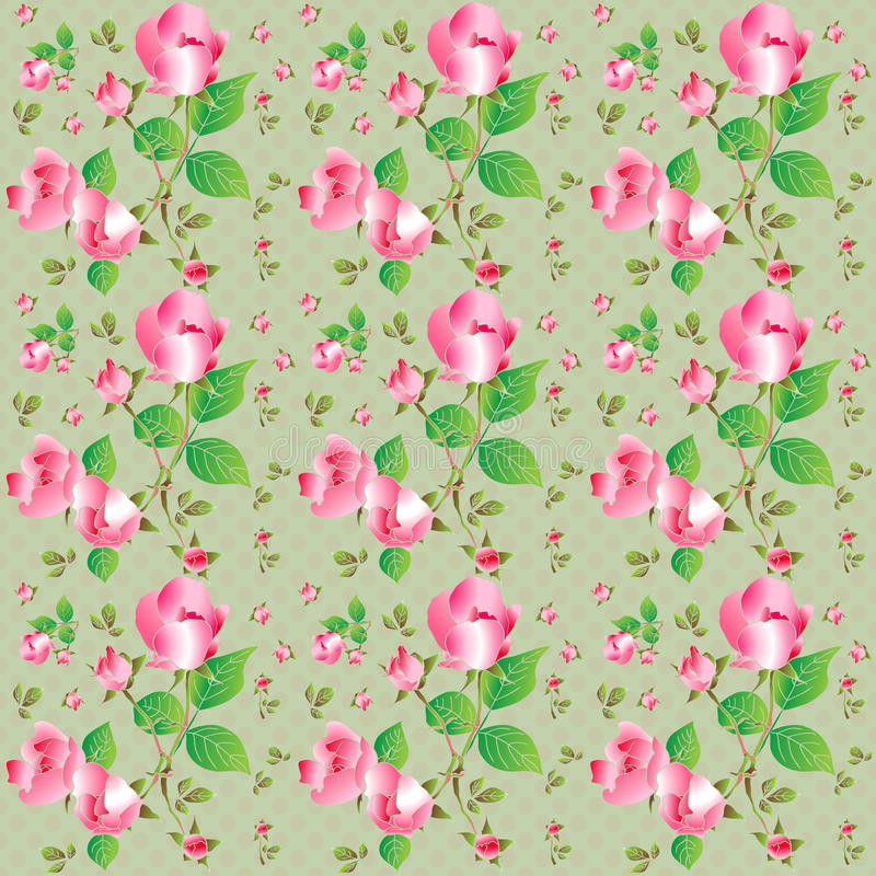 Free Vintage Seamless Pattern With Beautiful Roses. Vector Illustration. Stock Image - 49412071
