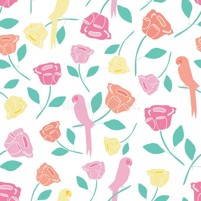 Vintage seamless repeat rose floral and bird pattern. vector illustration
