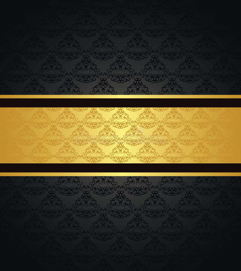 vintage seamless wallpaper with a gold ribbon stock vector