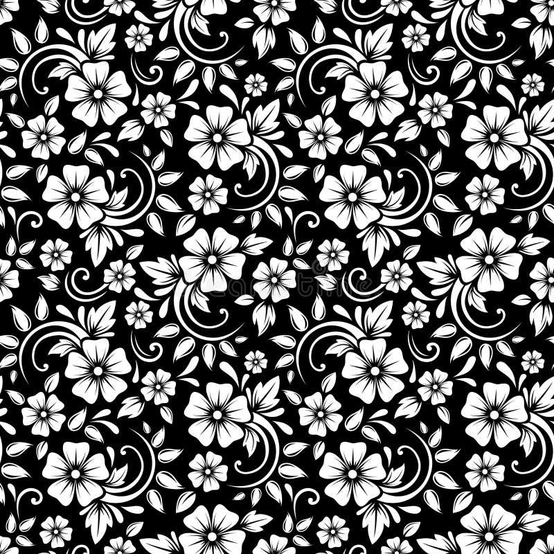 Vintage seamless white floral pattern on a black background. Vector illustration. Vector vintage seamless pattern with white flowers and leaves on a black royalty free illustration