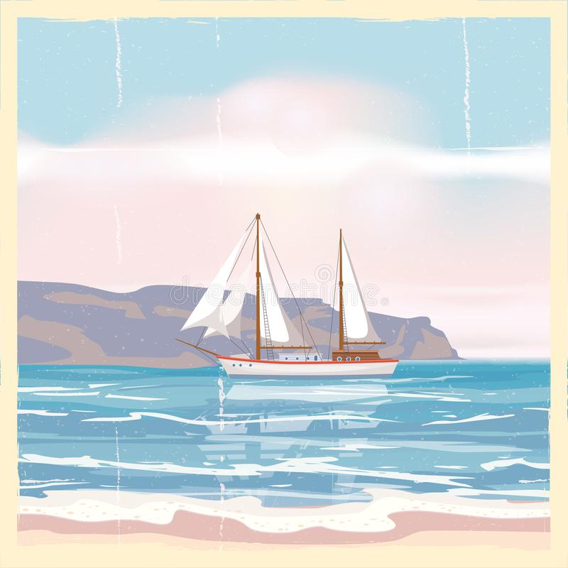 Beautiful Vintage Summer Seaside Illustration Royalty Free: Retro Nature Seascape Poster Background O Stock Vector