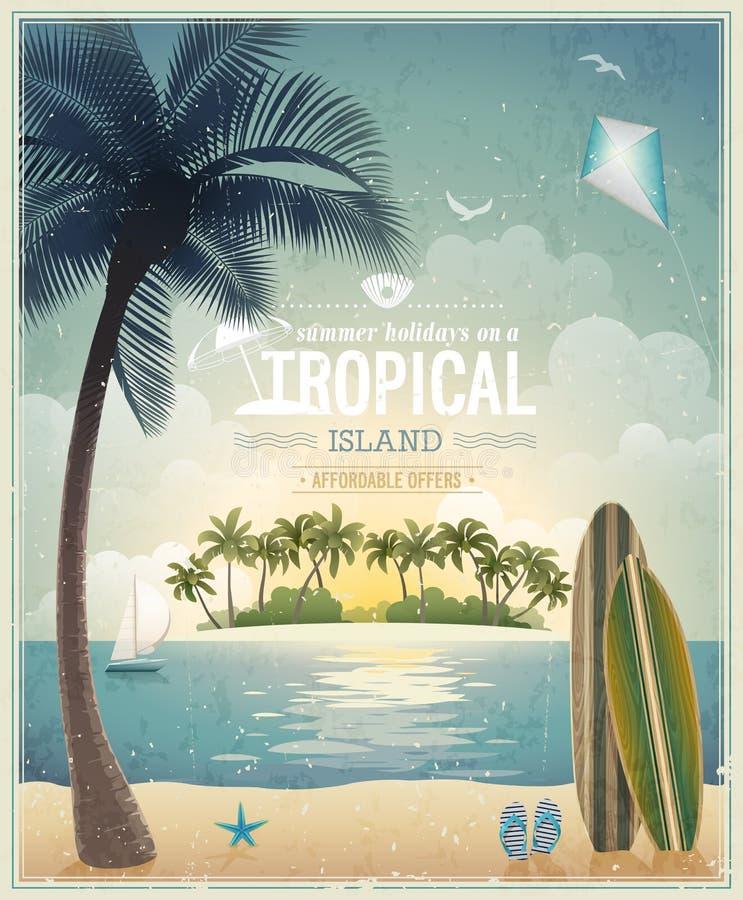 Vintage seaside view poster. royalty free illustration