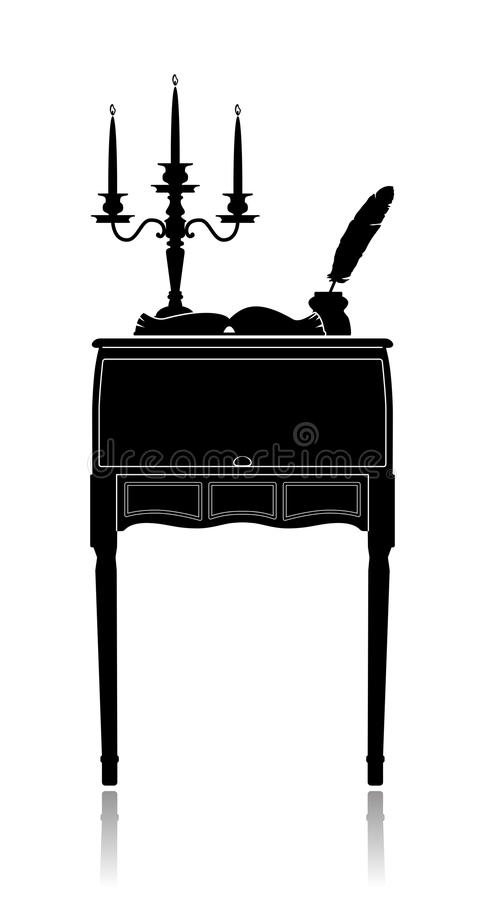 Vintage secretaire with a candelabrum, inkwell and vector illustration