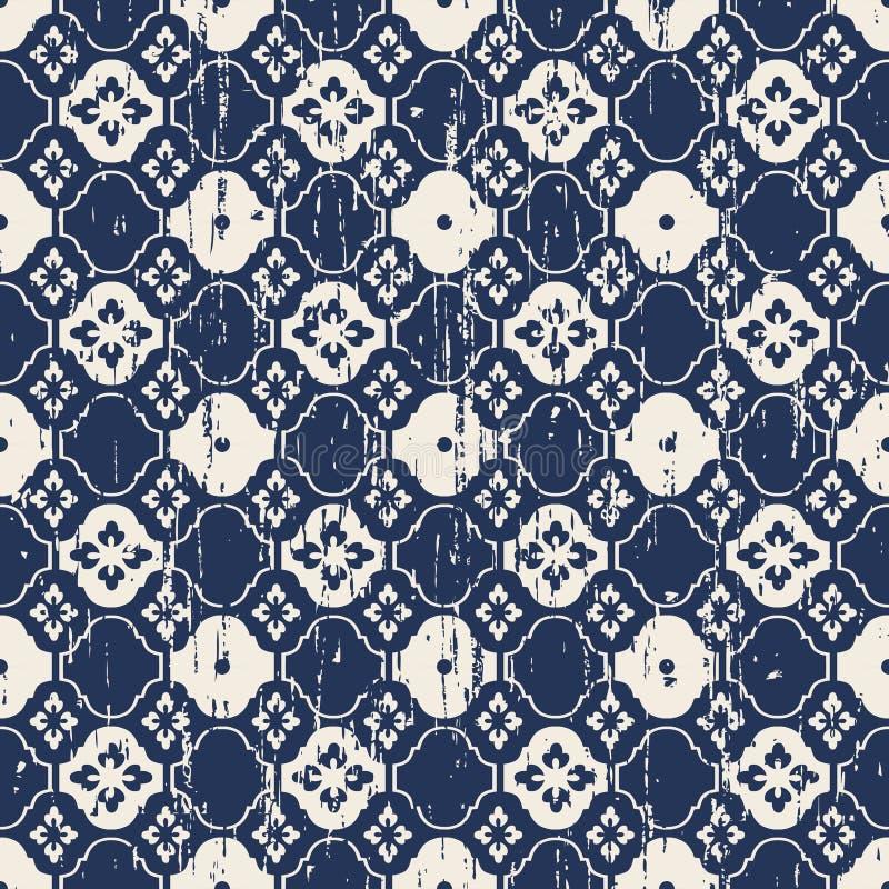 Vintage sem emenda fundo azul para fora vestido do teste padrão do tracery da flor ilustração royalty free