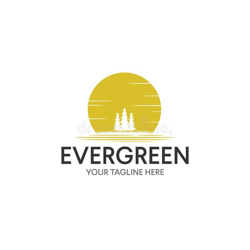 Vintage sempre-verde/inspiração do projeto logotipo do pinheiro ilustração stock