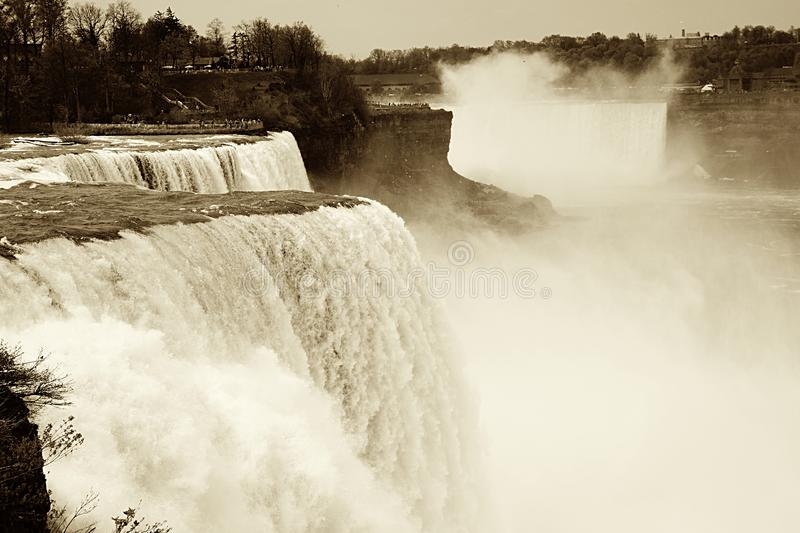 Vintage Sepia Niagara Falls Image. An old style image of Niagara Falls waterfall in a sepia antique style from the American side royalty free stock images