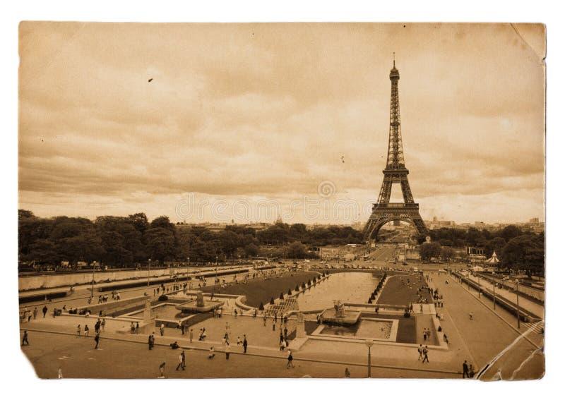 Vintage sepia postcard of Eiffel tower in Paris stock photo