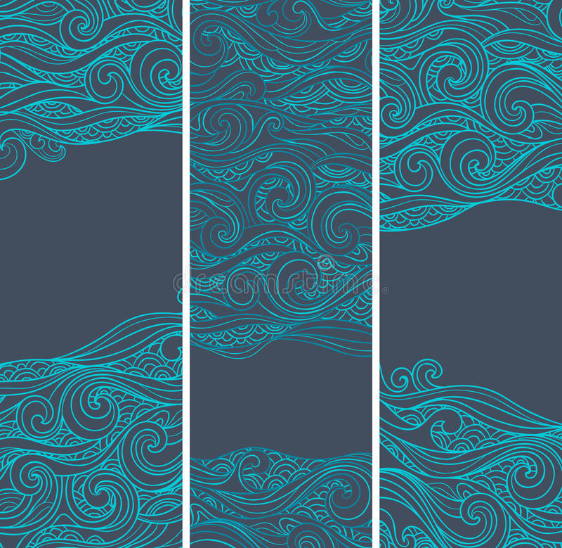 Vintage Set Of Banners With Ethnic Waves Stock Vector