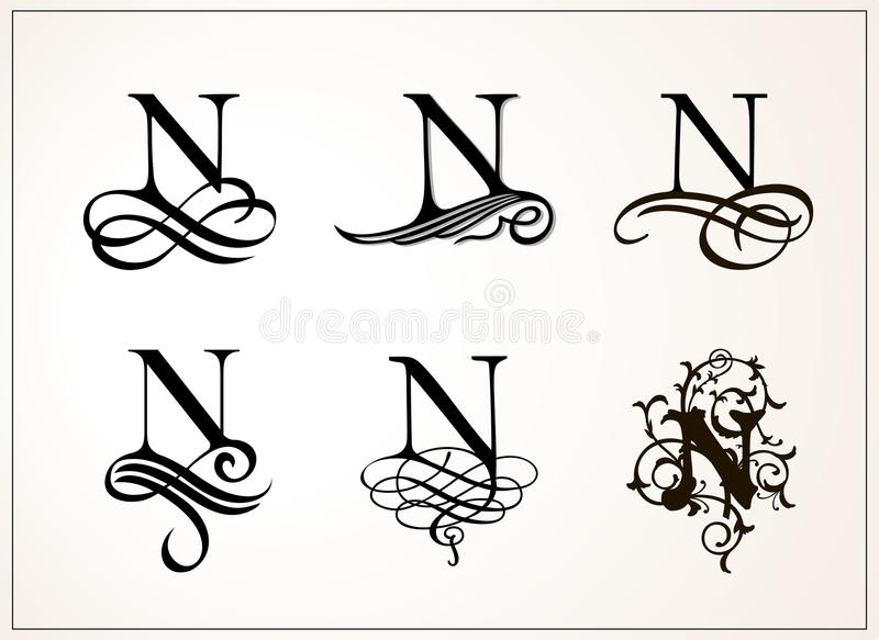 Capital Letter N For Monograms And Logos Beautiful Filigree Font