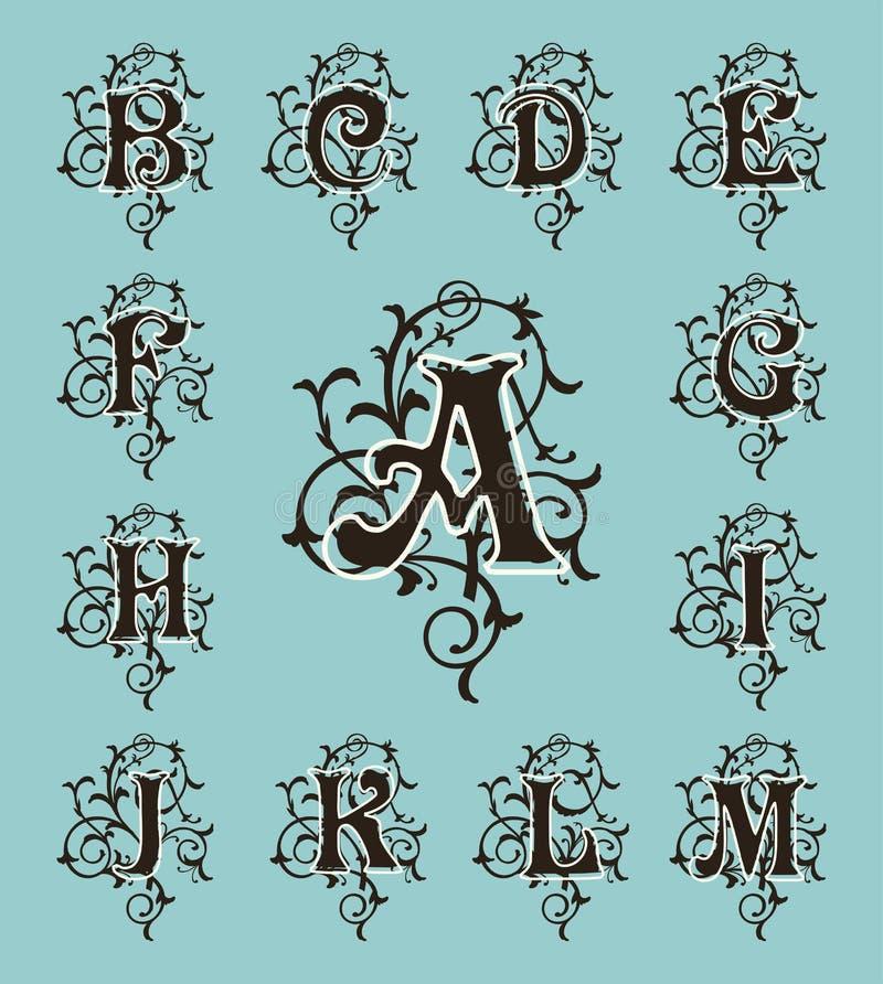 vintage set capital letters floral monograms and filigree font