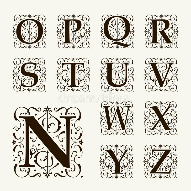 Vintage set capital letters monograms and font stock for Style retro deco