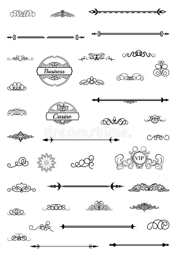 Vintage set decor elements. Decoration for logo royalty free stock photography