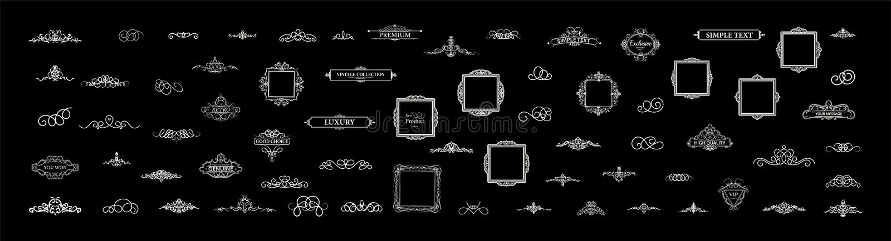 Vintage set decor elements. Decoration for logo stock photos