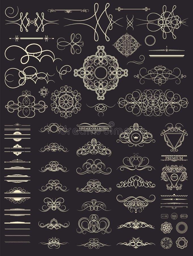 Vintage set decor elements. Decoration for logo, wedding album o royalty free stock photo