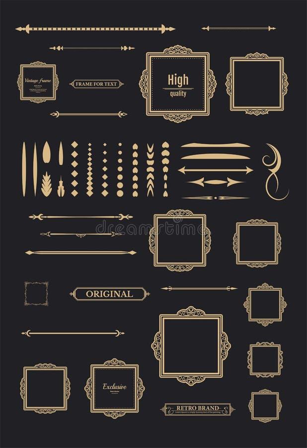 Vintage set decor elements. Decoration for logo stock photo