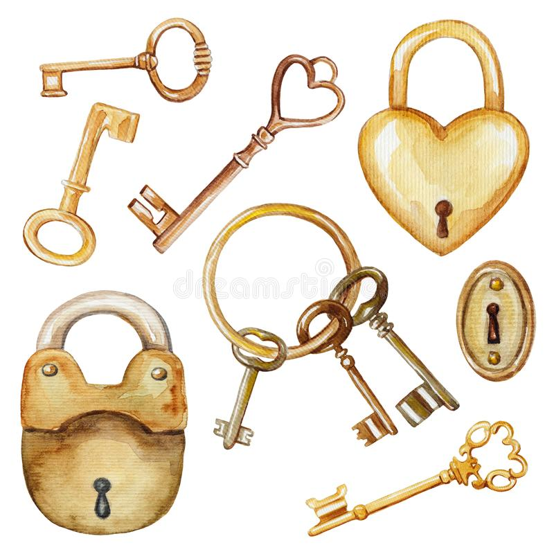 Watercolor set with vintage keys and locks royalty free illustration