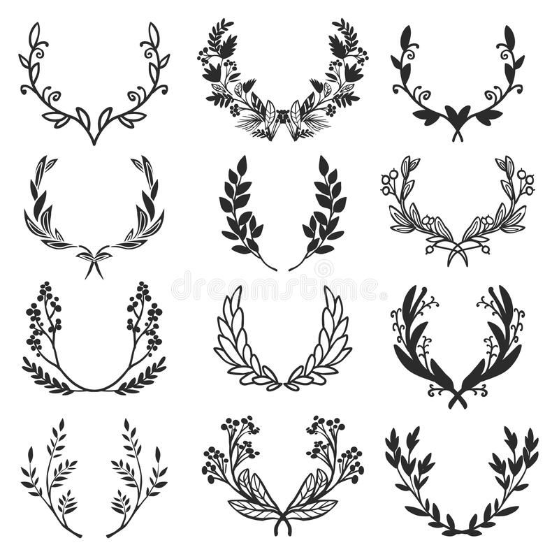 Vintage set of hand drawn rustic laurels. Floral vector graphic vector illustration