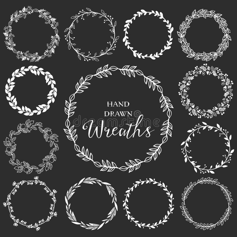 Vintage set of hand drawn rustic wreaths. Floral vector graphic. On blackboard. Nature design elements vector illustration