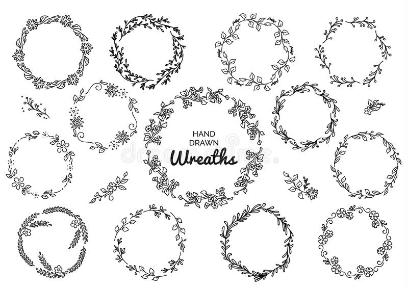 Vintage set of hand drawn rustic wreaths. Floral vector graphic on white board. Nature design elements.  stock illustration