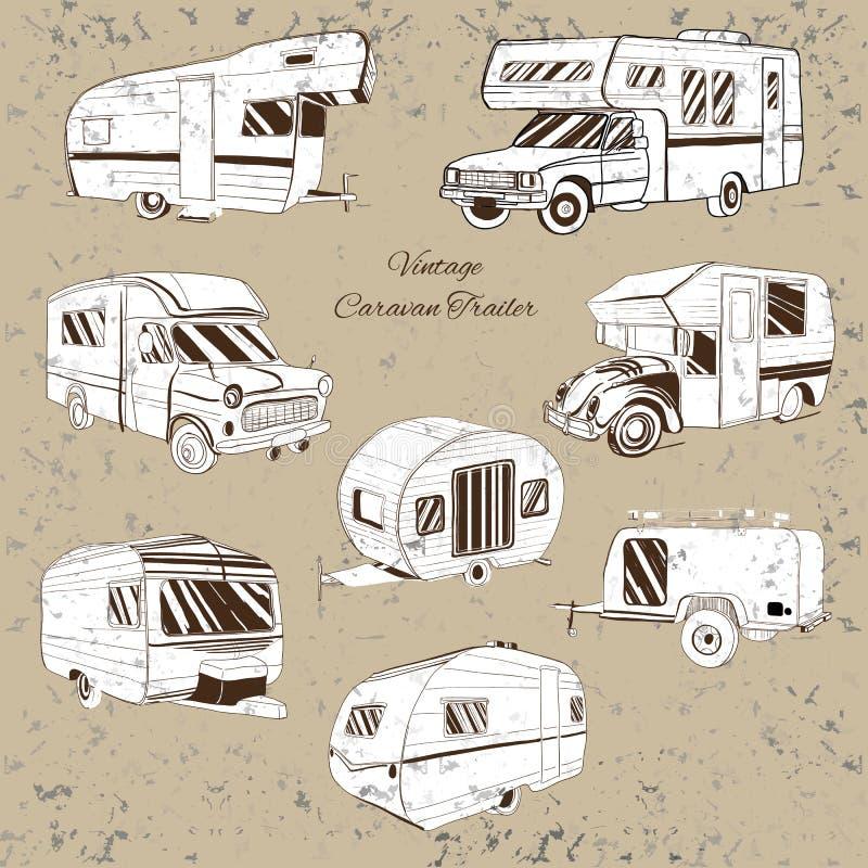 Vintage Set isolated Hand Drawn, doodle Camper trailer, car Recreation transport, Vehicles Camper Vans Caravans Icons. Vector illustration of Vintage Set vector illustration