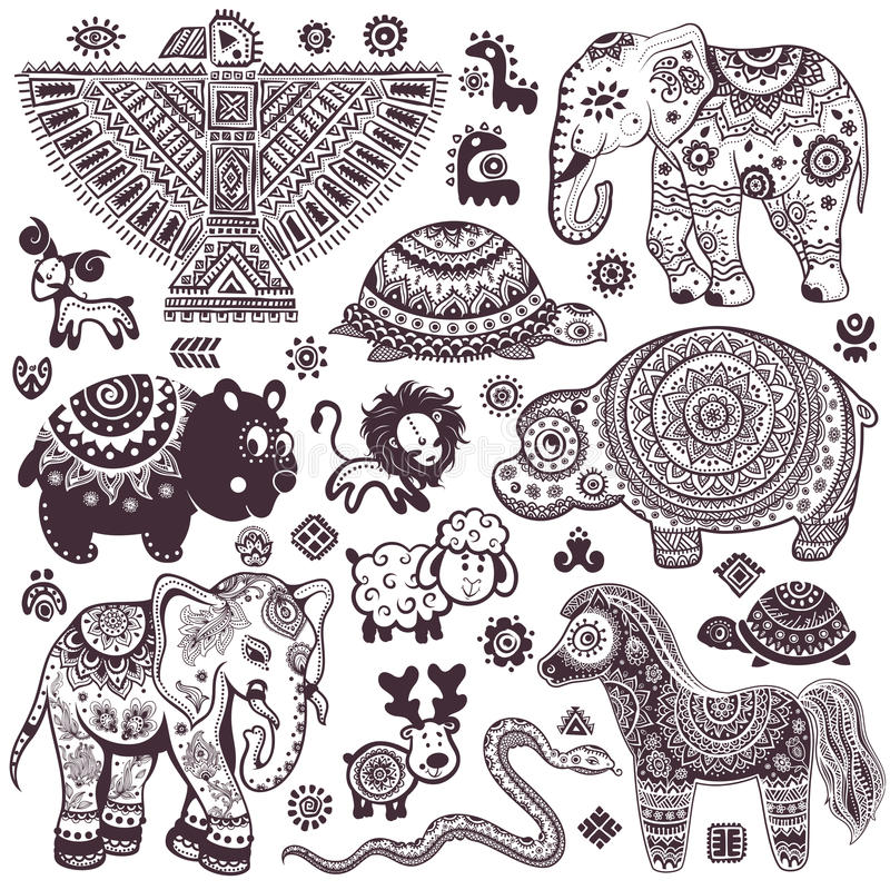 Free Vintage Set Of Isolated Ethnic Animals And Symbols Stock Photo - 39754830