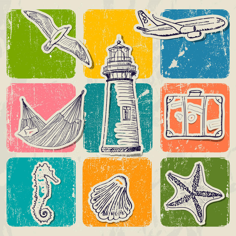 Free Vintage Set Of Sea Travel Icons. Royalty Free Stock Photography - 32025917