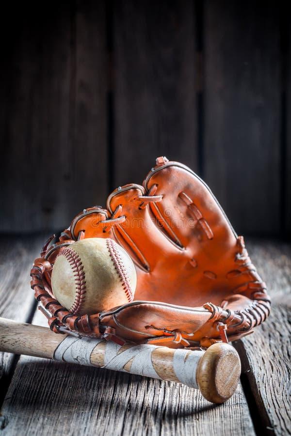 Vintage set to play baseball stock photos