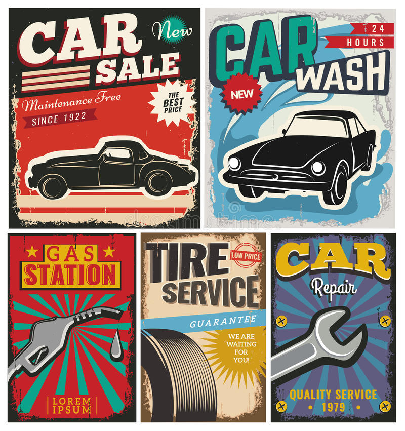 Vintage set of vector cars for advertising stock illustration