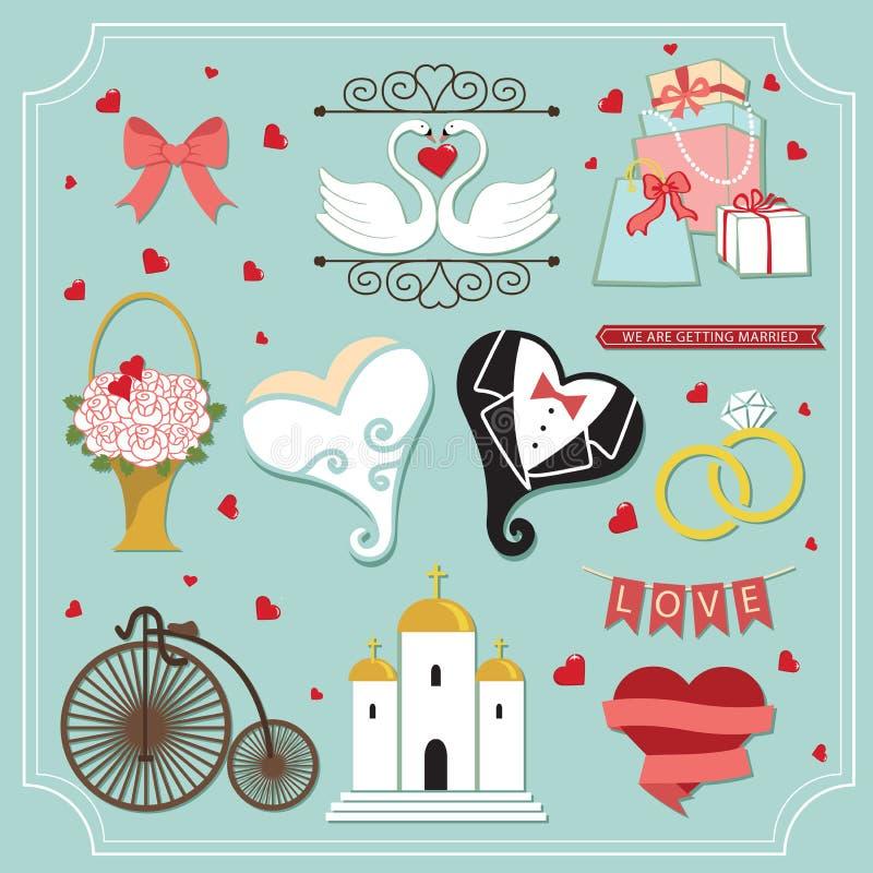 Vintage set for wedding invitation. Cute design elements vector illustration