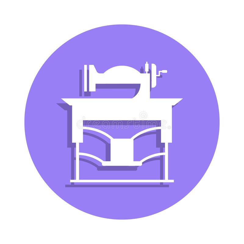 vintage sewing machine icon in badge style. One of Handmade collection icon can be used for UI, UX royalty free illustration