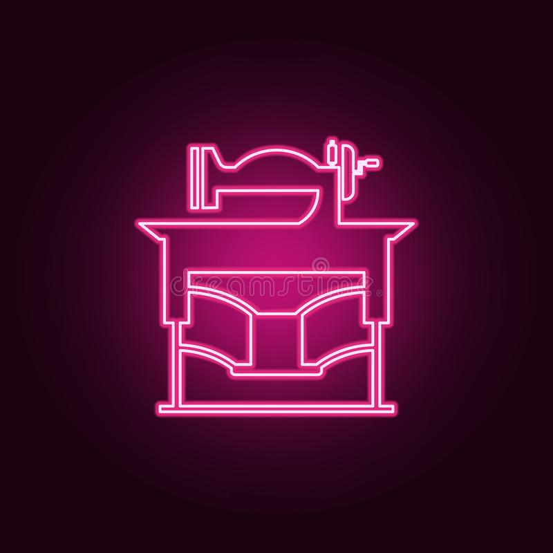 vintage sewing machine icon. Elements of Handmade in neon style icons. Simple icon for websites, web design, mobile app, info vector illustration