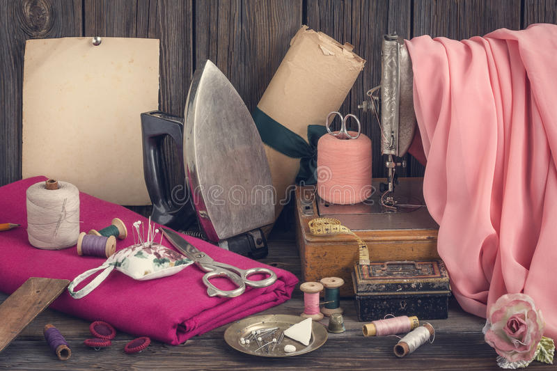 Vintage sewing supplies royalty free stock image
