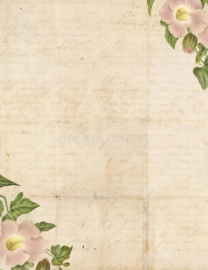 Vintage Shabby Chic background with flowers stock illustration
